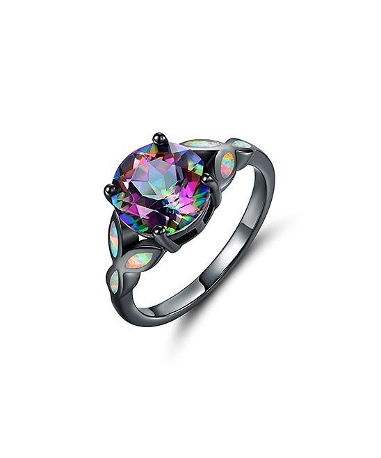 Rainbow Topaz & Fire Opal Engagement Ring