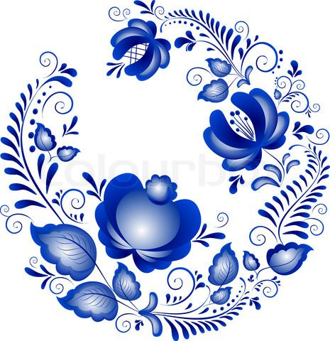 Фото вектор «русских украшений в стиле Гжель.  Гжель (марка русской керамики, окрашены голубой на белом) '