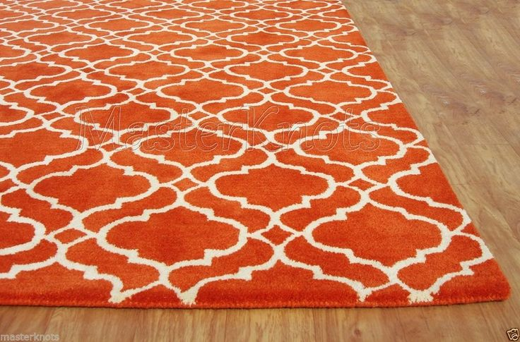 Brand New Riyana Scroll Tile Orange 6x9 9x6 Handmade Wool