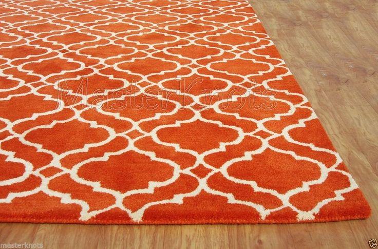 Brand New Riyana Scroll Tile Orange 6x9 9x6 Handmade Wool