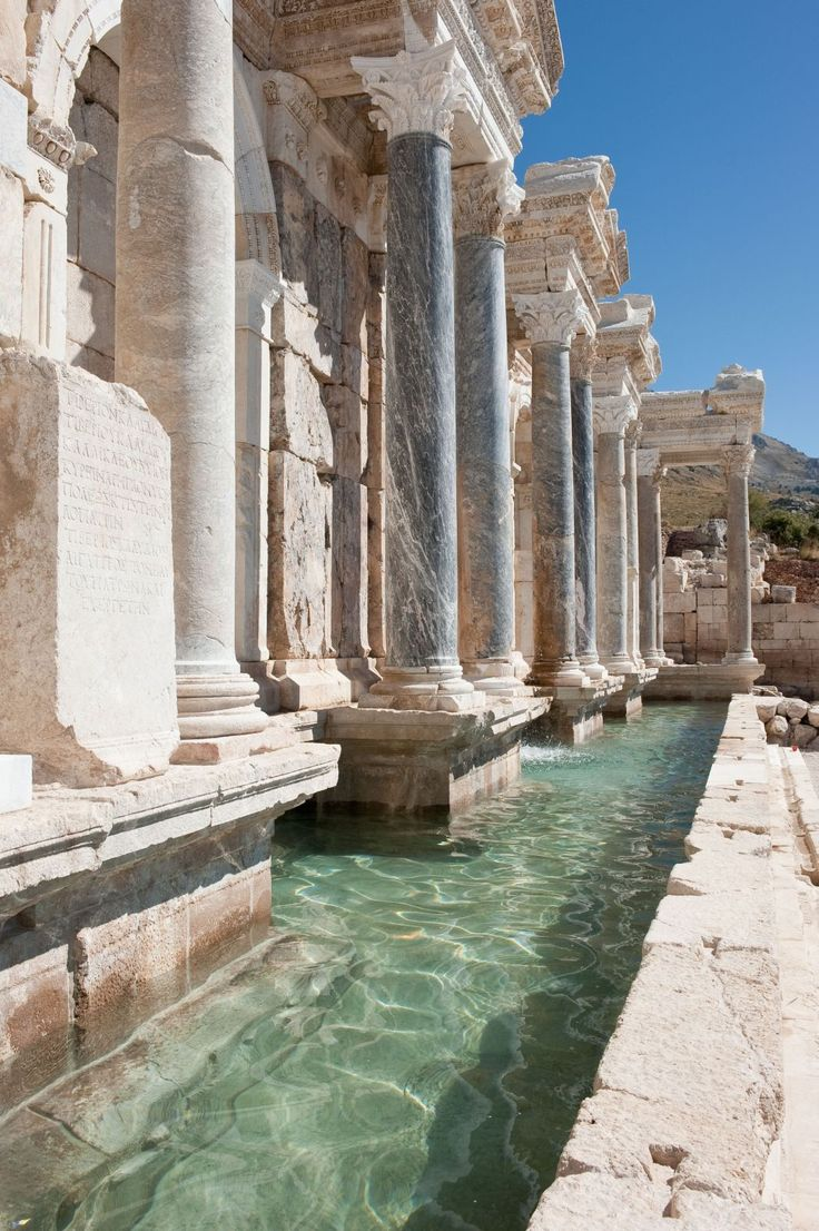 Sagalassos fountain (Turkey, ca. 160-180 AD). Located roughly 110 km north of Antalya, the ruins of the city extend 2.5 km from west to east and 1.5 km from north to south. The excavations at Sagalassos are now among the largest archaeological projects in the Mediterranean. Sagalassos was a prosperous city for over 1000 years, from early Hellenistic times until it was struck by a devastating earthquake in the 7th century AD when the city was abandoned.