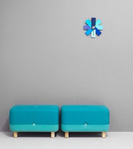 The turquoise Sumo Pouf and Watch Me Wall Clock. Norman copenhagen
