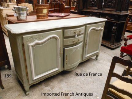 FRENCH ANTIQUE -- PAINTED FINISH OAK BUFFET SIDEBOARD CABINET