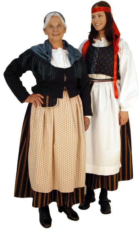 Folk dresses of Hankasalmi region, Finland. Married women is allowed to wear the silk cap while unmarried wears a ribbon | Hankasalmen naisen kansallispuku Kuva © Taito Uusimaa Lasse Keltto