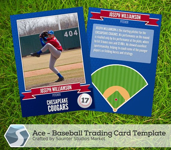 Ace Baseball Trading Card 2 5 X 3 5 Photoshop Etsy Baseball Card Template Trading Card Template Baseball Cards