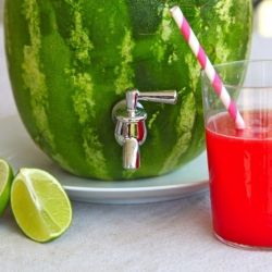 how to make a watermelon into a drink dispenser and how to make a super simple Watermelon Agua Fresca from the watermelon.