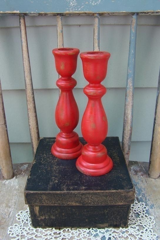 Valentines day red shabby wood candlesticks by for Oxford turned wood candle holders