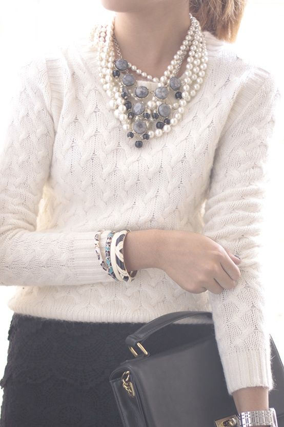 classic & elegant..white sweater with pearls. JW fashion, modest. Skirt outfit. Winter skirt outfit.