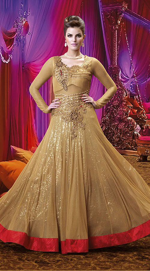 trendy beige net designer floor touch gown style suit with