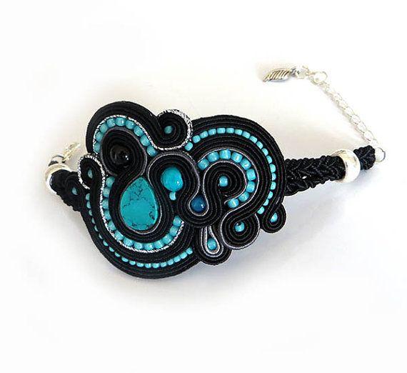 Turquoise Soutache Cuff Bracelet Turquoise Bracelet by sutaszula