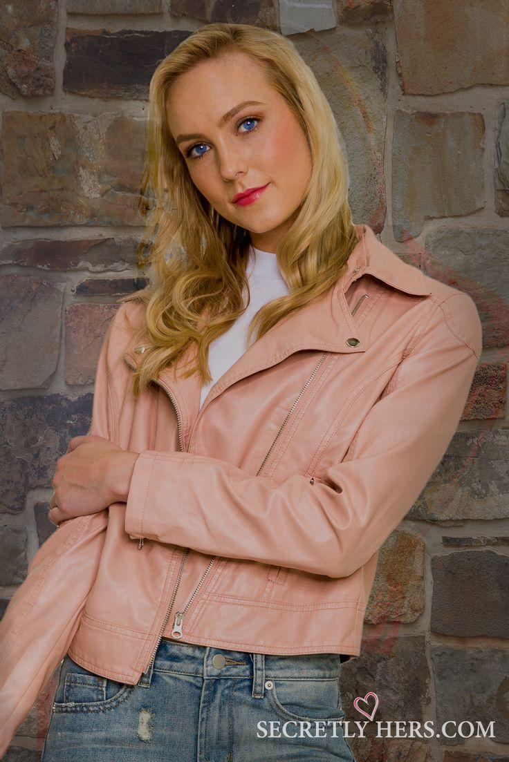 JUNK Biker Jacket in Dusty Pink  #fashion #jacket #bikerjacket #secretlyhers  https://www.secretlyhers.com/biker-jacket-in-dusty-pink