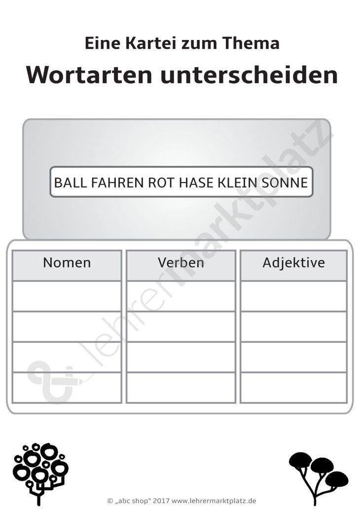 """Eine Kartei zum Thema """"Wortarten unterscheiden"""", Nomen, Verben und Adjektive unterscheiden/bestimmen"""