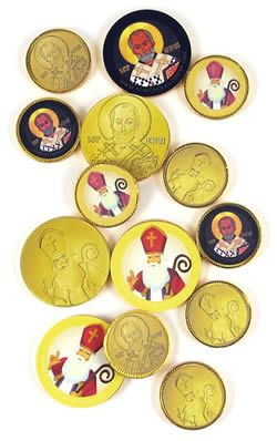 Make your own special St. Nicholas coins for St. Nicholas Day. PDFs to print stickers!