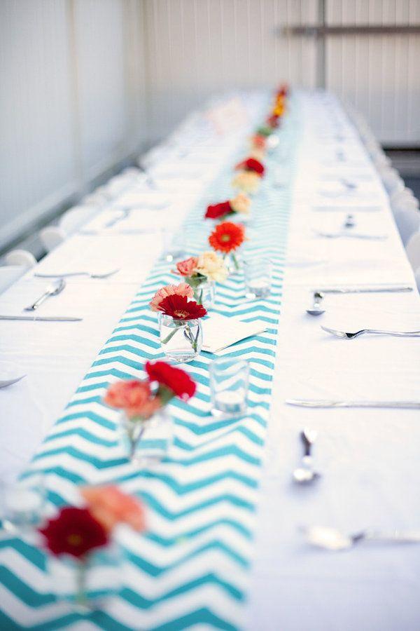 table setting. chevron patterned runner.
