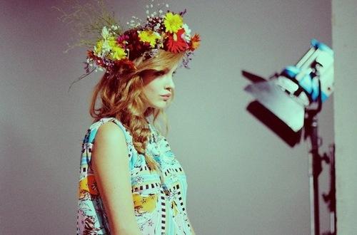 An enviable floral headdress situation on Barbara Palvin: Chebar Backstage, Editorial Concept, Floral Headdress, Fashion General, Jazmin Chebar, Flowers Head, Bridal Hair, Barbara Palvis, Bridal Flowers