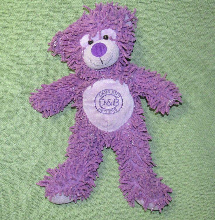 "PURPLE Teddy Bear Dave & Busters 17"" Shaggy Plush Stuffed Fiesta Tactile Toy #Fiesta #any"
