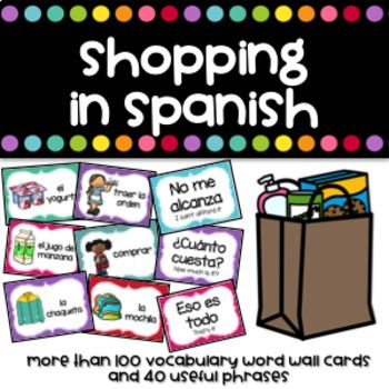 Complete word wall in Spanish for all your Shopping units.Clothes, food and school supplies vocabulary with useful expressions included. Useful vocabulary used at restaurants included too.Perfect to review, reinforce or introduce vocabulary about food, clothes, school supplies, shopping and ordering at a restaurant.Files included -More than 100 vocabulary words and 40 useful expressions Cards measure 4.61 x 3.34 inches.