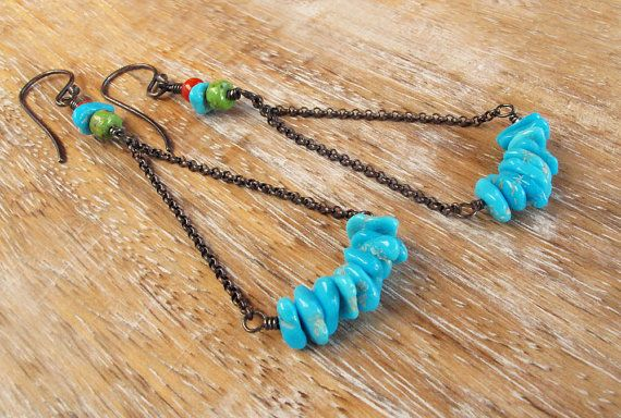 Southwest turquoise earrings boho earrings tribal earrings boho jewelry silver dangle earrings cowgirl inspired equestrian jewelry via Etsy