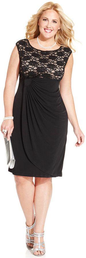 Connected Plus Size Sequin-Lace Faux-Wrap Dress