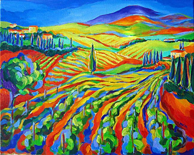 Tuscany Vineyard contemporary original oil painting vineyards fine art by Martina Shapiro.