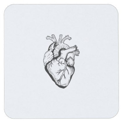 Funny Heart Diagram Anatomical Student Valentines Square Paper Coaster - heart gifts love hearts special diy