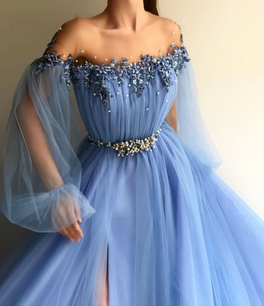 Petite Blue Hot Long 2018 Prom Dress Sexy Slit Evening Dress A-Line Prom Dresses 1