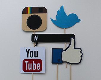 "Social Media Photo Booth Props - Facebook ""Like"" Sign, Chalkboard Hashtag Bubble, You Tube Sign, Twitter Logo, Instagram Logo"