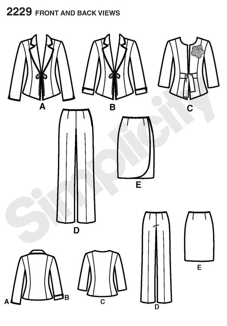 Simplicity pattern 2229: Misses' & Miss Petite Sportswear jacket, pants and skirt: