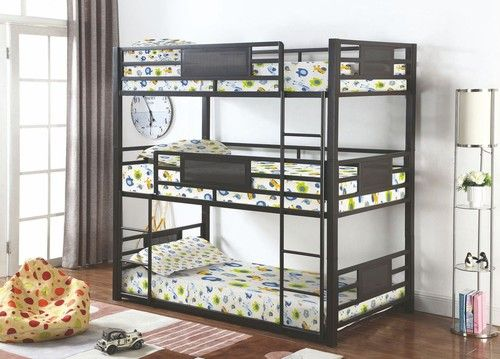 Best Coaster Rogen Dark Bronze Triple Twin Size Bunk Bed Bunk 640 x 480