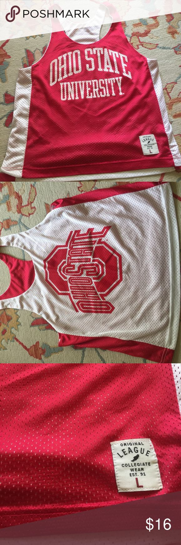 Ohio State Buckeyes mesh tank ,L , reversible EUC Can't recall ever wearing this , purchased at campus Barnes and noble bookstore last year - northwestern game actually - moving and I need to purge league Tops Tank Tops