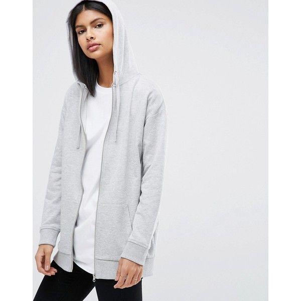 ASOS Ultimate Oversized Hoodie (€34) ❤ liked on Polyvore featuring tops, hoodies, grey, oversized hoodie, tall hoodies, hooded sweatshirt, gray zip hoodie and hooded zipper sweatshirts