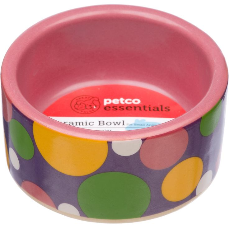Petco pink polka dot ceramic bowl petco store small