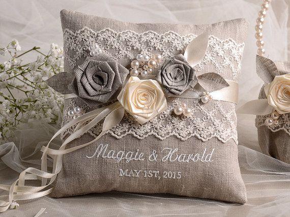 Кружева Свадебное Подушки кольцо на предъявителя Подушки Вышивка Имена, потертый шик естественно белье