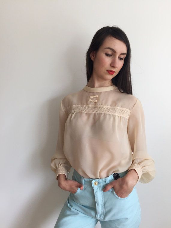 Blouse Sheer Creamy White Vintage Blouse See by woolpleasure