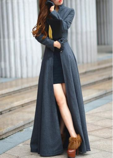 Beautiful Grey Zipper Fly Mandarin Collar Trench Coat - USD $73.55
