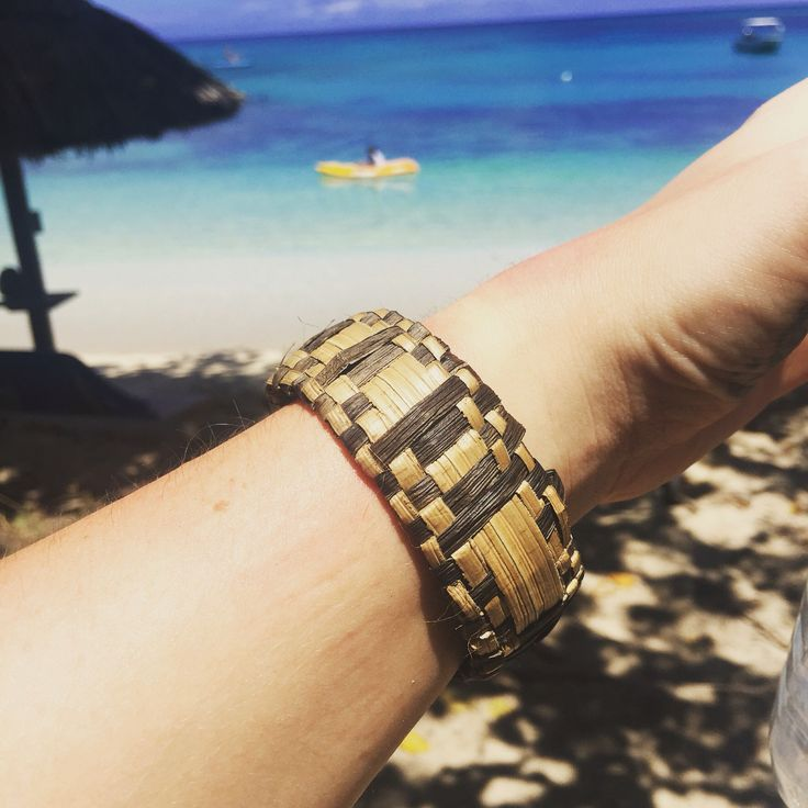 A gorgeous bracelet made by weaving dried butternut leaves whilst on my visit to Fiji !