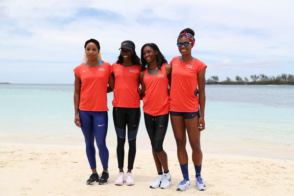 Quanera Hayes Photos Photos - Team USA Women's 4x400 athletes Natasha Hastings, Ashley Spencer, Phyllis Francis and Quanera Hayes pose on the beach prior to the IAAF / BTC World Relays Bahamas 2017 at the Hilton Nassau Hotel on April 21, 2017 in Nassau, Bahamas. - IAAF / BTC World Relays Bahamas 2017