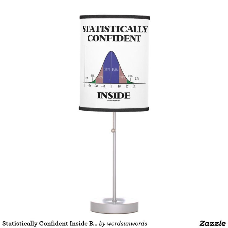 "Statistically Confident Inside Bell Curve Humor #statistically #confident #inside #geek #humor #bellcurve #statistical #statistics #wordsandunwords Make others do a double-take with a dose of wry statistical attitude with this lamp featuring the bell curve distribution along with the saying ""Statistically Confident Inside""."