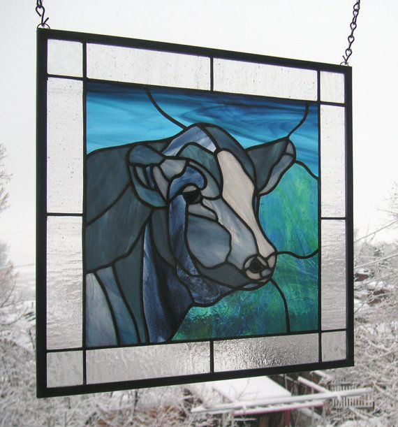 Black & White Cow portrait 15 x 15 Stained by StainedGlassArtist