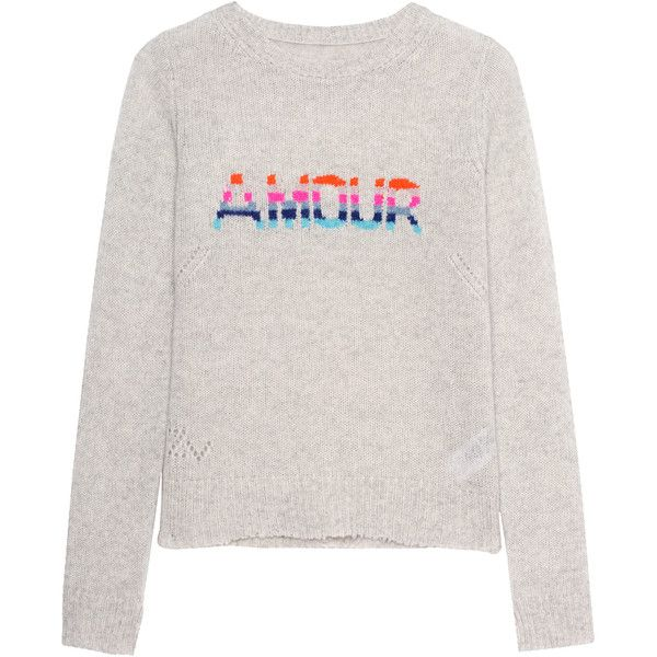 ZADIG&VOLTAIRE Delly Bis Ecru // Cashmere knit sweater ($355) ❤ liked on Polyvore featuring tops, sweaters, multi colored sweater, colorful tops, light grey sweater, multi color sweater and intarsia sweater