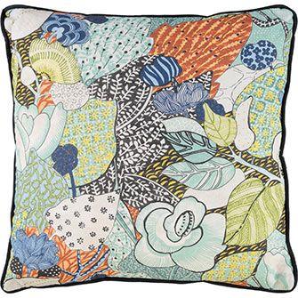 Multicoloured Botanical Print Cushion 46x46cm