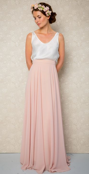 ViCTOR | Rose Skirt & Mandy Top | Blush Pink Long Bridesmaid Skirt. Made to order in loads of beautiful colours. Sizes 6-20. Shipped Worldwide