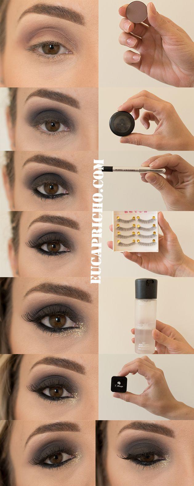 tutorial maquiagem para o natal, olhos pretos com glitter