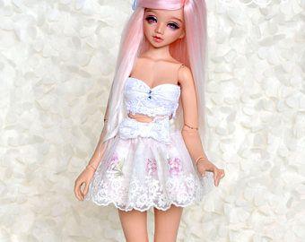 Minifee/Unoa/BJD/pop/Fairyland twee gelaagde rok met geborduurde kant en lacy boog