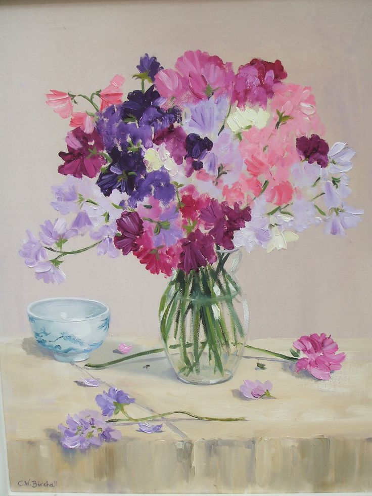 Christine Birchall — Sweet Peas and Blue Bowl (1944×2592)