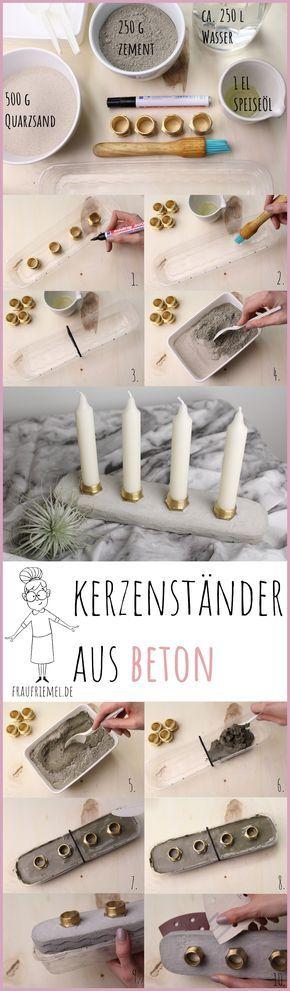 DIY Anleitung für Beton Kerzenständer mit Messing. Auch als selbstgemachter Adventskerzenhalter bestens geeignet. Einfache Anleitung für Basteln mit Beton.