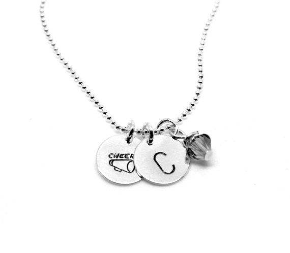 Cheer Cheerleader Megaphone and Initial Stamped Necklace with Swarovski Crystal: Silver