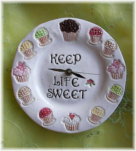 Cupcake Clock Cupcakes Home Decor Keep Life By Angelheartdesigns