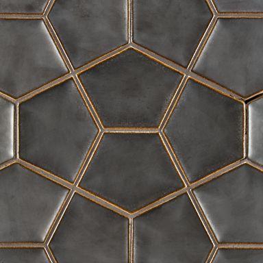 "Ann Sacks -8-3/4"" x 11-7/8"" penta 3d field in metallic black …                                                                                                                                                                                 More"
