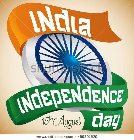Poster with ribbon with greeting message for India Independence Day around…